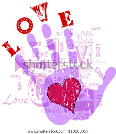 Love concept, grungy with typography, and hand - stock vector