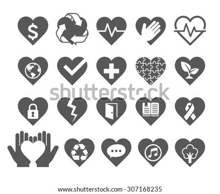 Love concept heart line icons style. Vector illustration. - stock vector