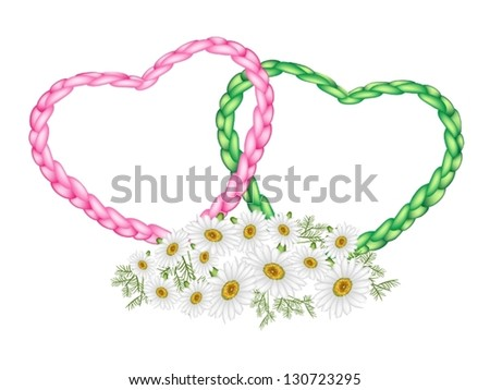 Love Concept, Illustration of Beautiful Pink and Green Heart Shapes Made of The Rope with Daisies or Chamomile Flowers - stock vector