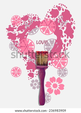 Love concept illustration. Paint brush tool and pink blot as heart with  drops and flowers. Heart frame. Vector illustration - vector stock. As design element, web page template. For Valentine day. - stock vector