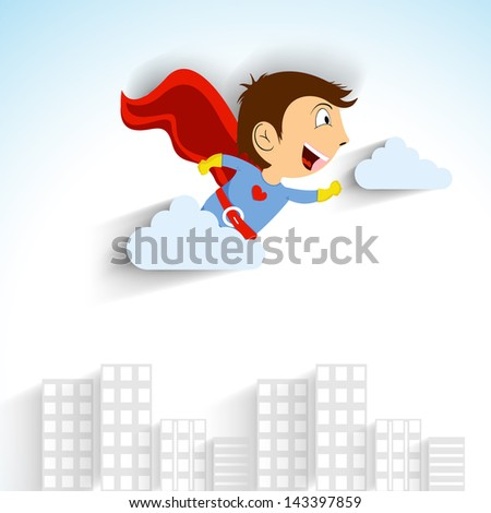 Love concept with little boy flying in superhero costume on urban city background.