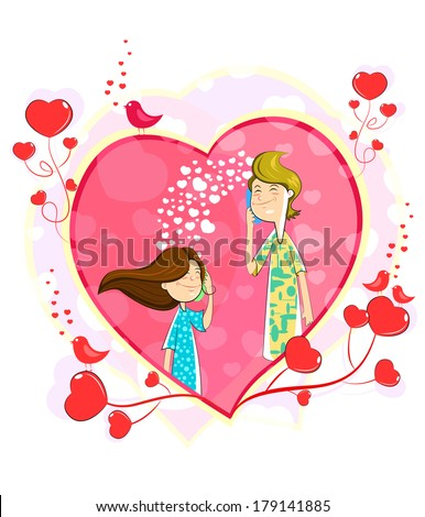 Love couple making telephone call in heart shape - stock vector