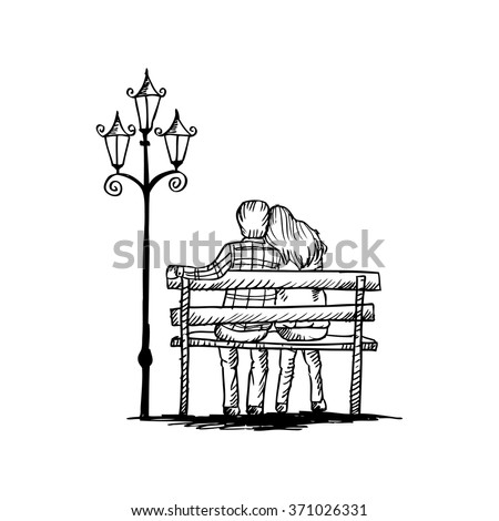 love couple on bench, sketching. - stock vector