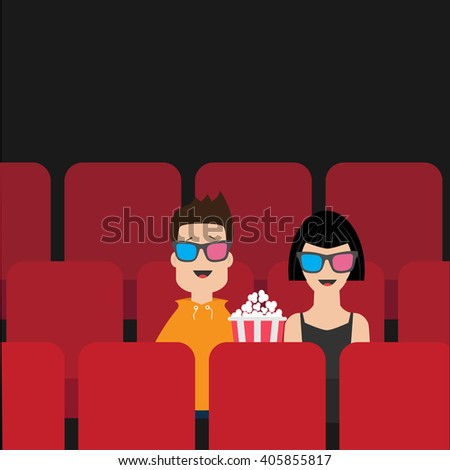 Love Couple Sitting Movie Theater Eating Stock Vector 405855817 - Shutterstock