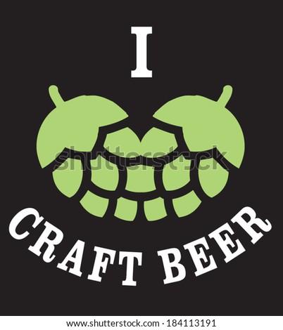 love craft beer - stock vector