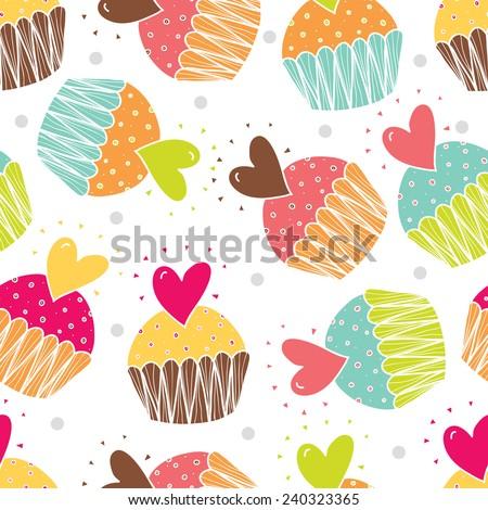 Love cupcakes. Cute seamless pattern. - stock vector