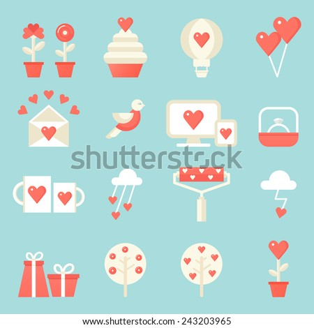 Love, Dating, Valentine's Day Icons Set. Flat Design - stock vector