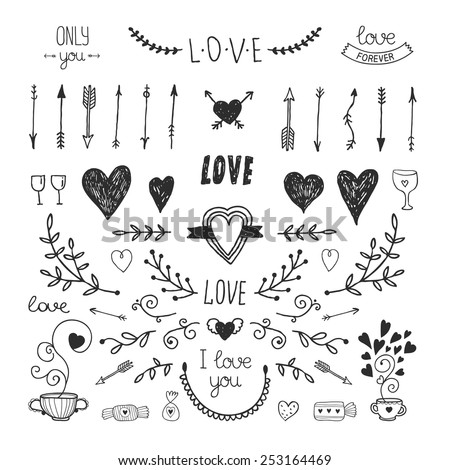 Love decorative vintage elements, hand drawn collection with arrow, heart, tatoo, flower, tea and lettering. Doodle set, vector illustration for design - stock vector