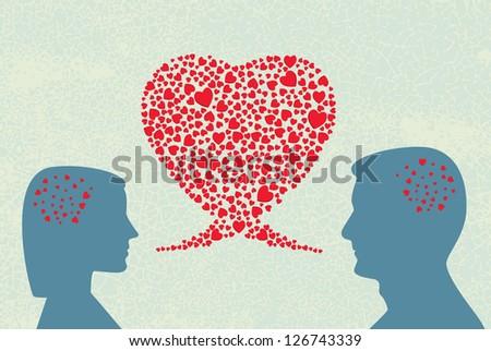 Love dialogue. Vector. - stock vector