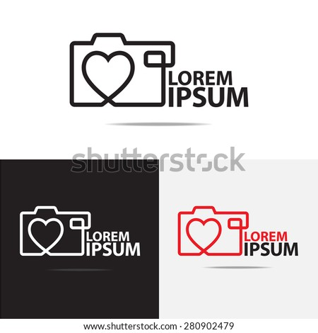 Love digital camera logo design. (Set of Camera logo design) - stock vector