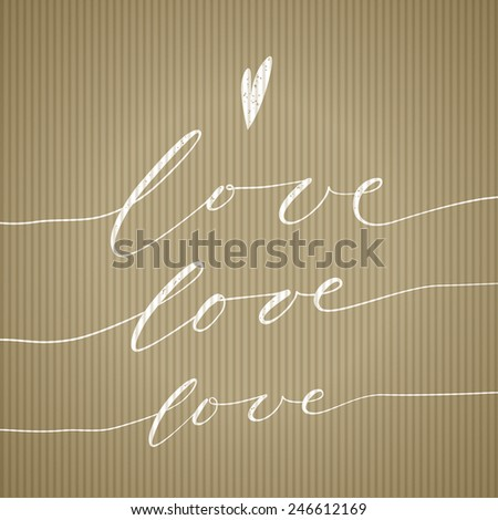 love doodle hipster message on recycled paper - stock vector