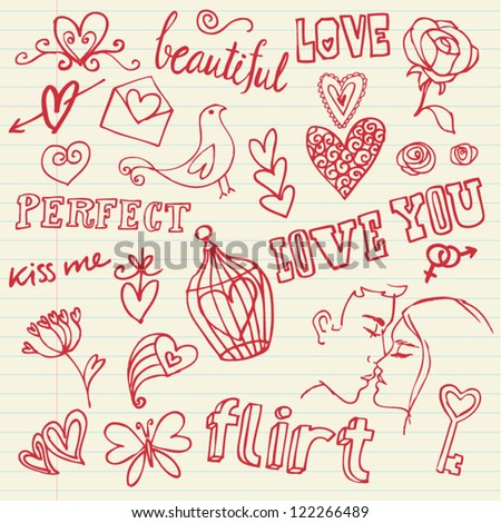 Love doodle set with words - stock vector