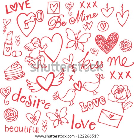 Love doodle vector set - stock vector
