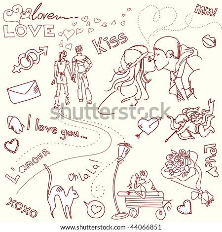 LOVE doodles - stock vector