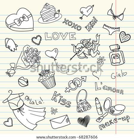 Drawing on the dress stock photos images pictures for Love doodles to draw