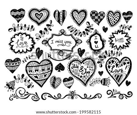 love doodles, hand drawn, vector eps10 - stock vector