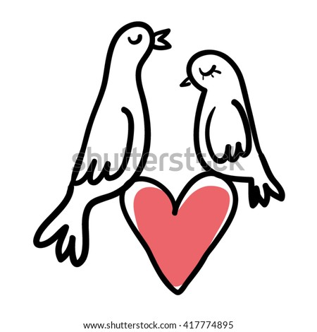 Love doves couple and heart. Love pigeons line drawing. Love doves couple vector illustration. Love Birds couple doodle.