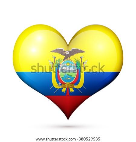 Love Ecuador symbol Heart flag icon. Vector illustration. - stock vector