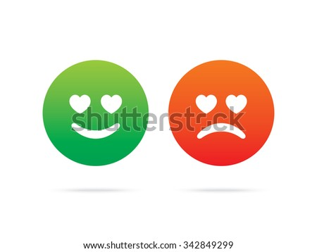 Love emoticons. Set of smileys, with different emotions. - stock vector