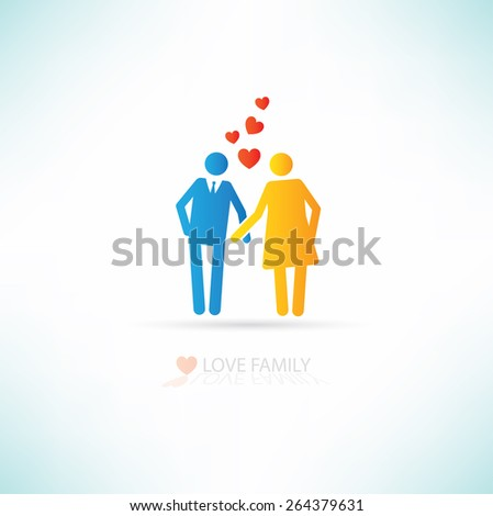 Love family concept design,clean vector - stock vector