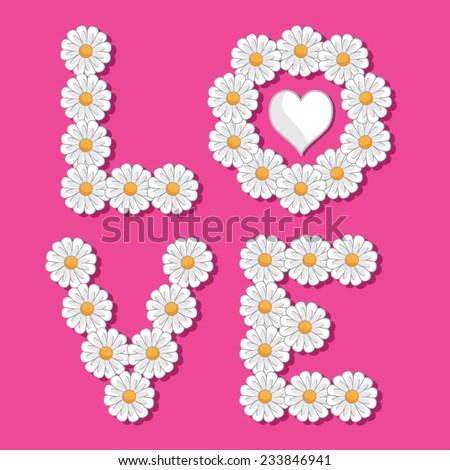 Love flowers typography, t-shirt graphics, vectors - stock vector