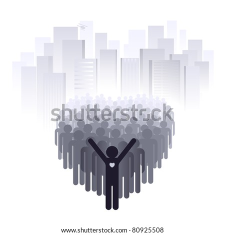 Love for the big city. Abstract illustration of a designer on a white background - stock vector