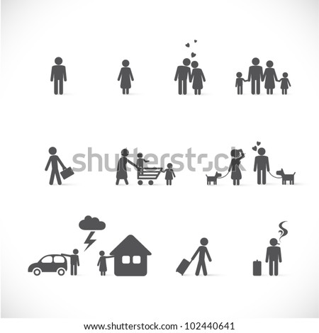 love from beginning to end - little story (singles, couple, family in different life situations - figure set) - stock vector