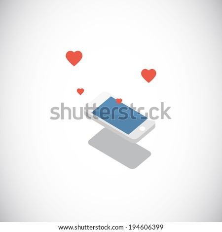 Love from smartphone - vector illustration - stock vector