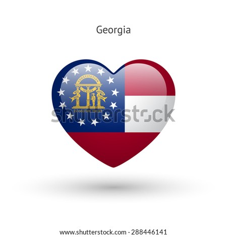 Love Georgia state symbol. Heart flag icon. Vector illustration. - stock vector