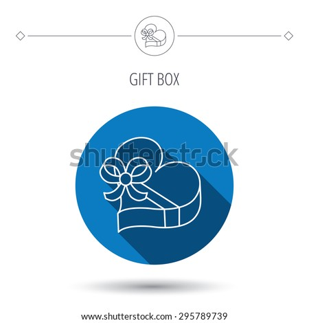 Love gift box icon. Heart with bow sign. Blue flat circle button. Linear icon with shadow. Vector - stock vector