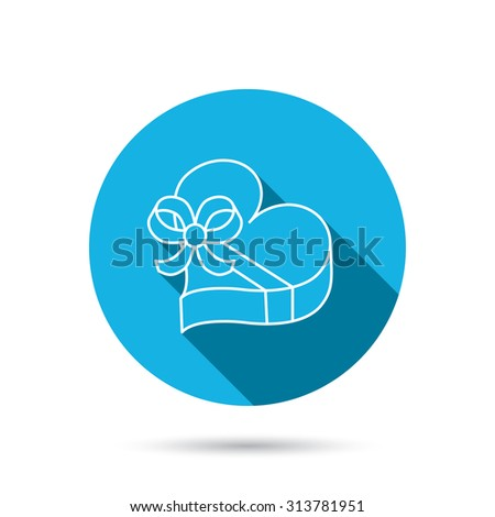 Love gift box icon. Heart with bow sign. Blue flat circle button with shadow. Vector - stock vector