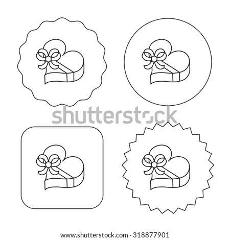 Love gift box icon. Heart with bow sign. Flat circle, star and emblem buttons. Labels design. Vector - stock vector