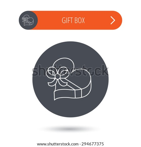 Love gift box icon. Heart with bow sign. Gray flat circle button. Orange button with arrow. Vector - stock vector