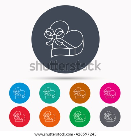 Love gift box icon. Heart with bow sign. Icons in colour circle buttons. Vector - stock vector
