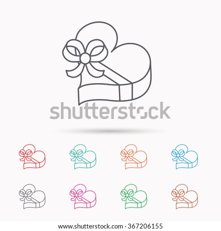 Love gift box icon. Heart with bow sign. Linear icons on white background. - stock vector