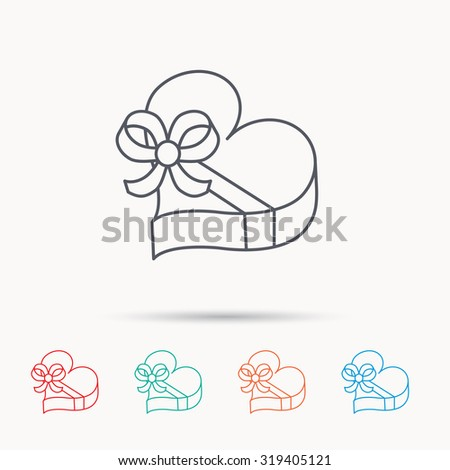 Love gift box icon. Heart with bow sign. Linear icons on white background. Vector - stock vector