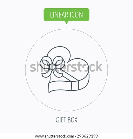Love gift box icon. Heart with bow sign. Linear outline circle button. Vector - stock vector
