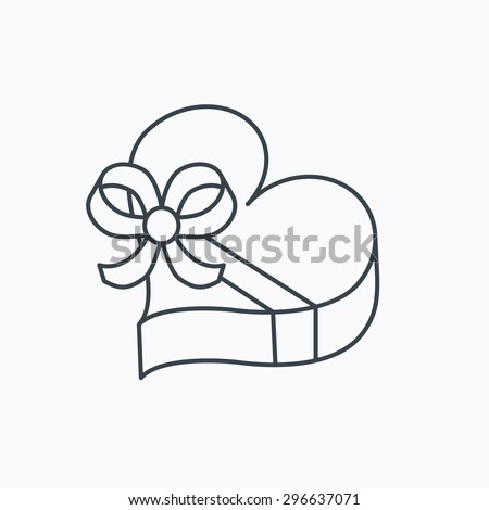 Love gift box icon. Heart with bow sign. Linear outline icon on white background. Vector - stock vector