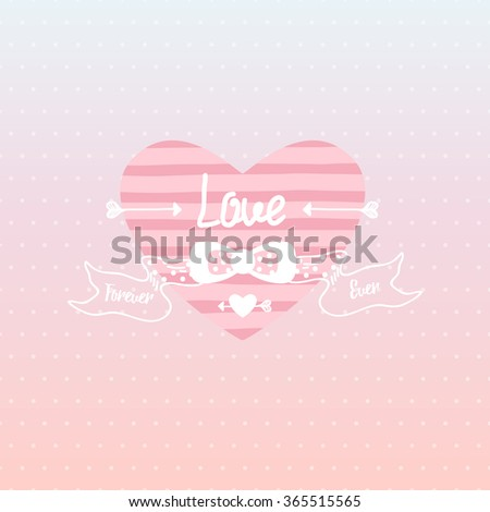 love  hand-drawn letter and  heart isolated on pink polka dots gradient background. Valentine's day greeting card, vector.  - stock vector