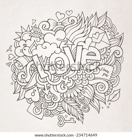 Love hand lettering and doodles elements sketch. Vector illustration - stock vector