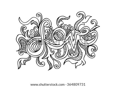 LOVE hand lettering with floral. Hand drawing illustration. - stock vector