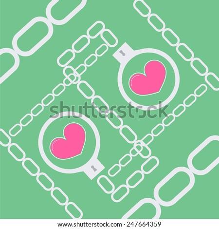 love handcuff - stock vector