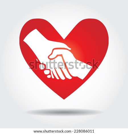 Love handshake in red heart icon. - stock vector