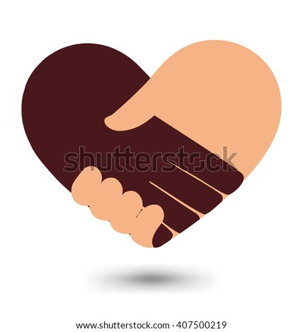Love Handshake With Heart Shape Vector Design