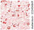 love,happy valentine day - doodles collection - stock photo