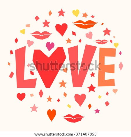 Love. Happy Valentine's day theme card template. - stock vector