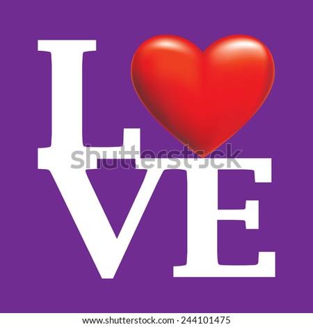 LOVE Happy Valentines Day - stock vector