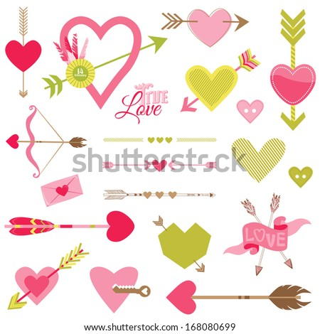 Love, Heart and Arrows Set - for Valentine's Day - in vector - stock vector