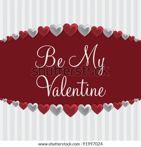 Love heart 'Be My Valentine' card in vector format. - stock vector