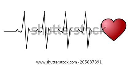 Love heart beat - stock vector